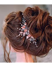 Kercisbeauty Wedding Rose Gold Flower Hair Pins with Crystal Beads for Brides Bridal Hair Piece Women Girls Evening Party Handmade Jewelry
