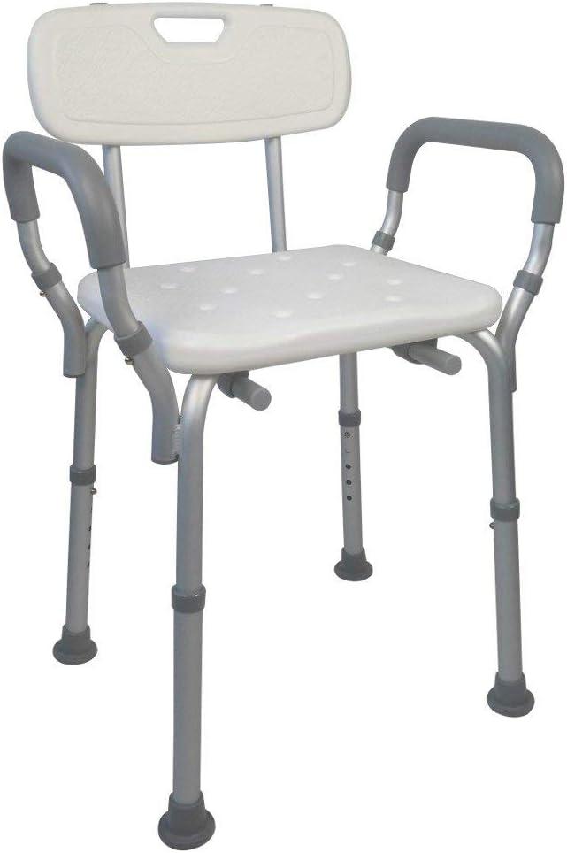 Mobiclinic, Puerto, Silla o taburete de baño, de ducha, ortopédica, ayuda para baño para ancianos y discapacitados, antideslizante, altura regulable, respaldo, ergonómica, ligera