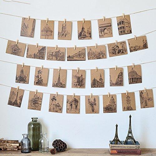 (Wall Decor Creative Vintage Postcard Photo Wall Decoration DIY Combination Fishing Net Twine Shelf Photo Wall Bedroom Dormitory Background Wall Hanging Nursery Décor (Color : 2))