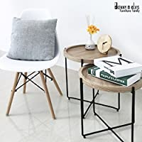 KennynElvis 2-Piece Round Concave Coffee Table Set, Steel with powder coating, Wooden, Black