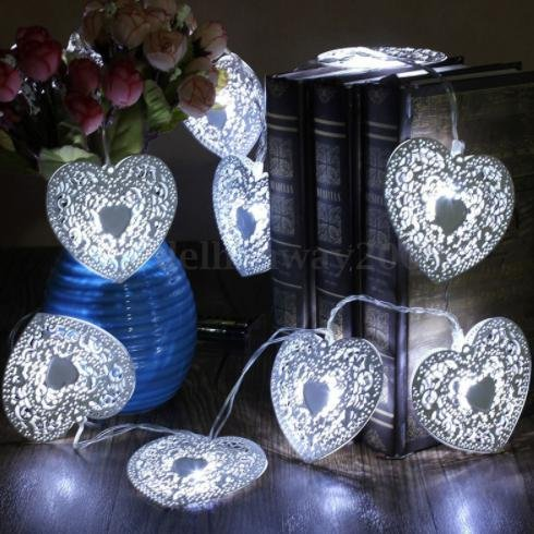 10LED Battery Operated Heart Shaped Christmas String Light Festival Party Wedding Decor Indoor/Outdoor Warm White Fairy Light - Victorian Towel Warmer