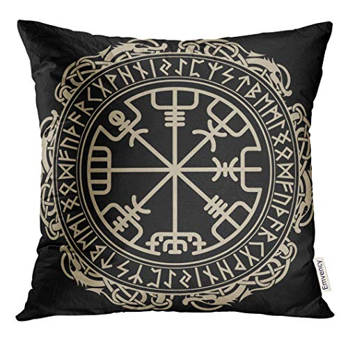 VANMI Throw Pillow Cover Black Celtic Viking Design Magical Runic Compass Vegvisir in The Circle of Norse Runes and Dragons Tattoo Decorative Pillow Case Home Decor Square 16x16 Inches Pillowcase