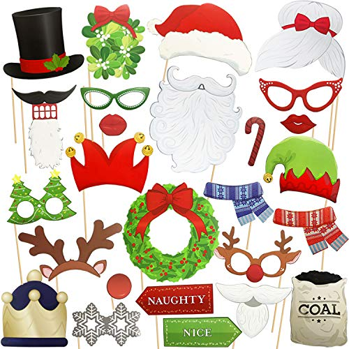 Christmas Photo Booth Props - Party Favors 31 Pcs Funny DIY Cardboard Kit On A Stick with Santa Mustaches as Xmas Dress Up Accessories for New Year, Eve Party Supplies