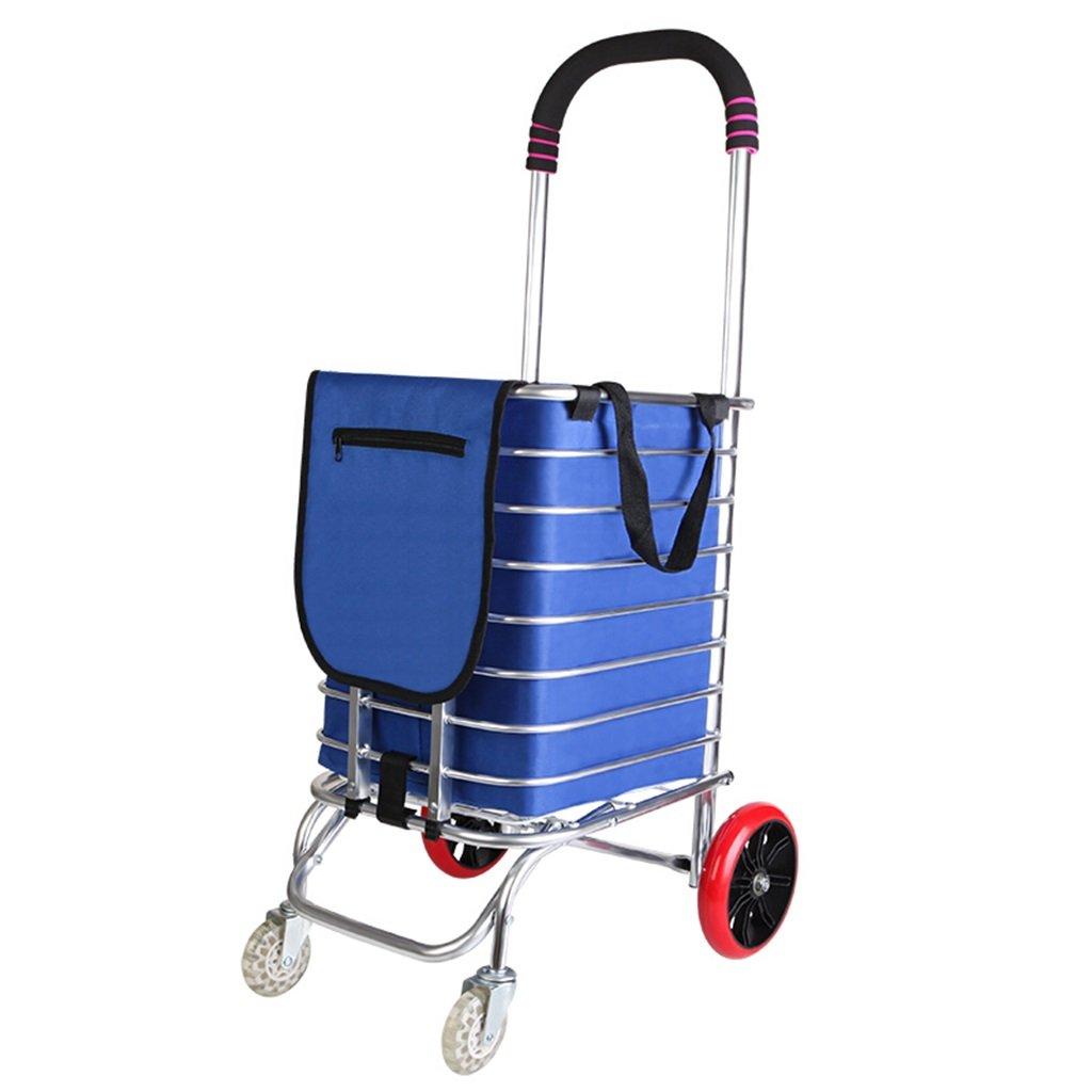 DS-ハンドカート トロリーアルミニウムショッピングカート折りたたみ式トロリーホームトロリー車の荷物車2つの車輪/ 4つ折りのバッグ+ストラップ+フック&& (色 : B)  B B07KG2NYM7