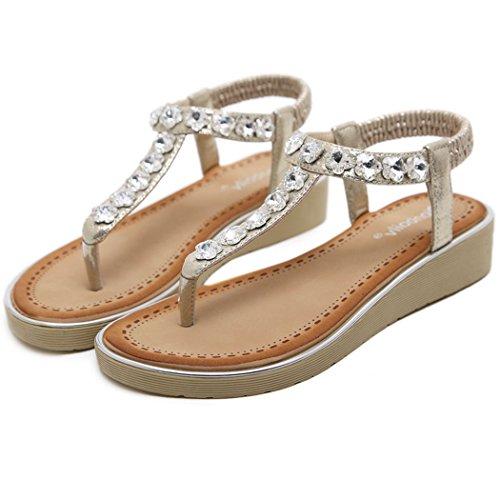 (INNICON Women's Glitter Crystal Slippers Rosette Dress Sandals Evening Rhinestone Wedge Heels Wedding Shoes (37 M EU / 6 B(M) US, Gold))