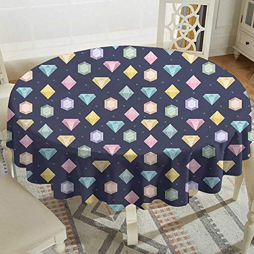 Cranekey Banquet Round Tablecloth 60 Inch Colorful,Graphic Gemstones with Different Shapes Trillion Drop and Marquise Cut Pattern,Multicolor for Home,Party,Wedding & More
