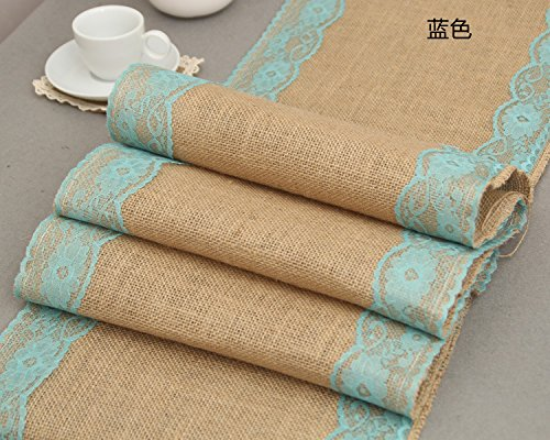 12x110 Inch Burlap Cream Lace Hessian Table Runner Jute Rustic Country Wedding Party Decoration, Kitchen Decor Farmhouse Decoration (Blue)