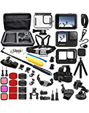 $49 » BMUUPY Accessories Kit for Gopro Hero 9 Black Accessory Bundle Waterproof Housing Case Filter Silicone Protector Lens Screen Tempered Glass Head Chest Strap Bike Car Mount Floating Set