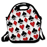Poker Print Insulated Lunch Tote Bag Lunchbox for School Work