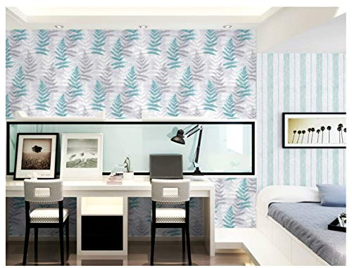 (Wall Non-Woven Mural Wallpaper Textured Leaves, Stripes, Blue Bedroom Modern Livingroom Background)