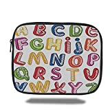 Laptop Sleeve Case,Educational,Hand Drawn Colorful 3D Style ABC Letters with Kids Patterns Joyful Fun Design,Multicolor,iPad Bag