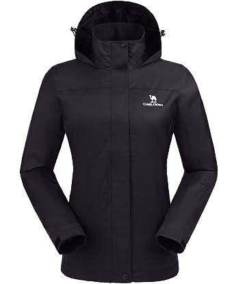 645a4aa5c CAMEL CROWN Womens Waterproof Rain Jacket Lightweight Hooded Windbreaker Windproof  Rain Coat Shell for Outdoor Hiking