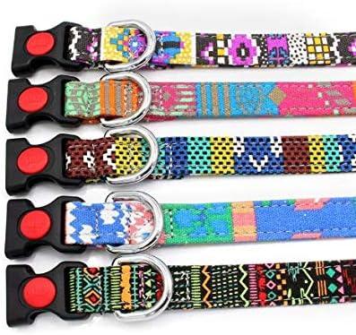Nandana Collar de Perro Ajustable para Mascotas - Amarillo y Morado - Talla S 4