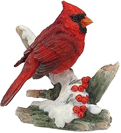 4.25 Inch Cardinal Bird on Snowy Branch Decorative Figurine, Red