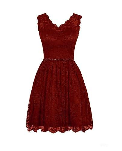 LOVEBEAUTY Women's Elegant Lace V-neck Short Prom Dress Bridesmaid Dresses Burgundy US 6