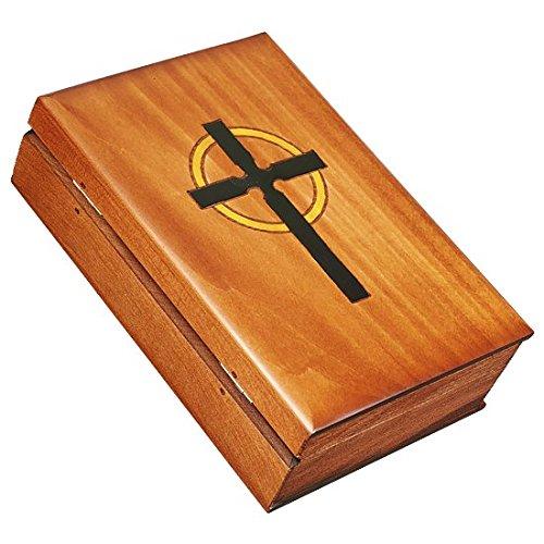 Wooden Bible Box - Book Shaped Bible & Cross Box Polish Handmade Wooden Bible Box Holder