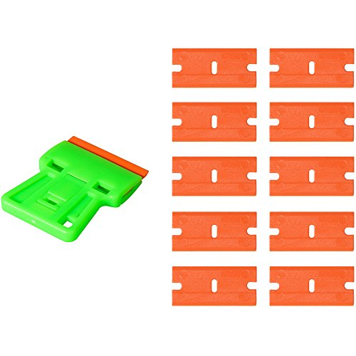 Ehdis Safety Decal Scraper Mini Razor Remover with 10 Extra 1.5 inch Double-Edged Light Plastic Blades for Film Stickers, Glue, Car Home Tinting Safety Razor Scraper