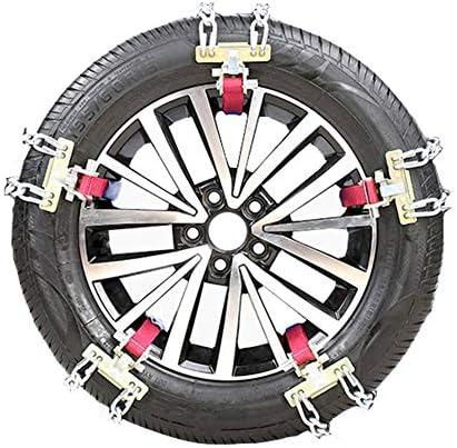 携帯用緊急牽引車のスノータイヤの滑り止めの鎖 普遍的な車のオフロードSUVバン - - 泥雪の緊急アンチスキッド鉄チェーン10車のタイヤスノーチェーンのセット TPUバンおよび軽トラック用ユニバーサルフィットタイヤ繰り返し使用