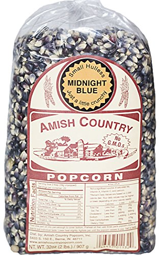 Amish Country Popcorn - Midnight Blue 2 Lb Bag- Old Fashioned, Non GMO, and Gluten Free with Recipe Guide and 1 Year Freshness Guarantee