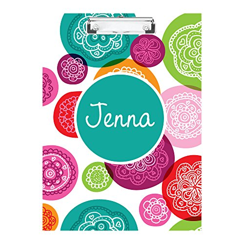 Funky Circles Monogrammed Double Sided Hardboard Clipboard