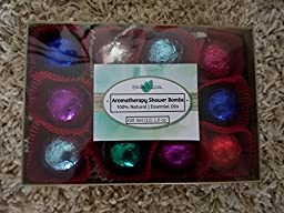 Spa Pure Luxury Aromatherapy Shower Bomb/Steamers Gift Set, 12 individually wrapped - 1.6 oz gum drop shapped shower fizzies in colorful foils, makes an amazing Gift