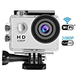 Action Camera, SENDOW Waterproof Underwater Camera for Helmet WiFi 1080P Full HD Action Sports Camera with 170°Wide-Angle 30M (IP68) for Cycling Jumping Climbing Outing Xsports Parkour