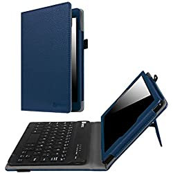 Fintie Keyboard Case for Amazon Fire HD 8 (Previous Generation - 6th) 2016 release, Slim Fit PU Leather Stand Cover with Quality All-ABS Hard Material Removable Wireless Bluetooth Keyboard, Navy
