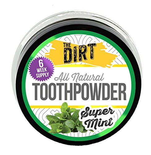 The Dirt All Natural Trace Mineral Whitening Tooth Brushing Powder - Super Mint - 6 Week Supply - 10 Gram