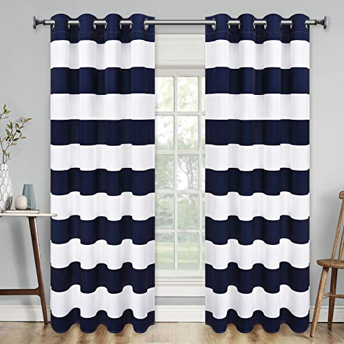 Yastouay Stripe Window Curtain Striped Room Darkening Grommet Curtains 52 × 63 Inches Stripes Drapes for Bedroom Living Room, Blue, Set of 2 Panels (Curtains And White Striped Navy)