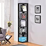 Yaheetech 5 Tier Espresso Finish Wood Wall Corner Shelf Slim Bookshelf/Bookcase Tall Display Rack