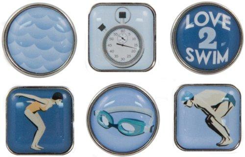 KAREN FOSTER Swimming Design Scrapbooking and Craft Embellishment Bubble Brads -