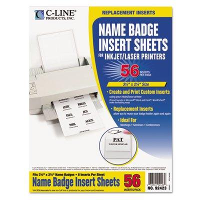 (C-Line 92423 Name Badge Inserts, 3 1/2 x 2 1/4, White,)