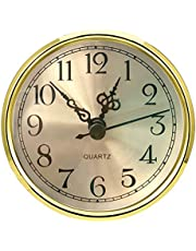 Mini Clock Insert 3-1/2 Inch (90 mm) Round Quartz Clock Fit-up Movement Miniature Clock Gold Dial Gold Tone Bezel Arabic Numerals, Fit 3.0 inch (78 mm) Diameter Hole