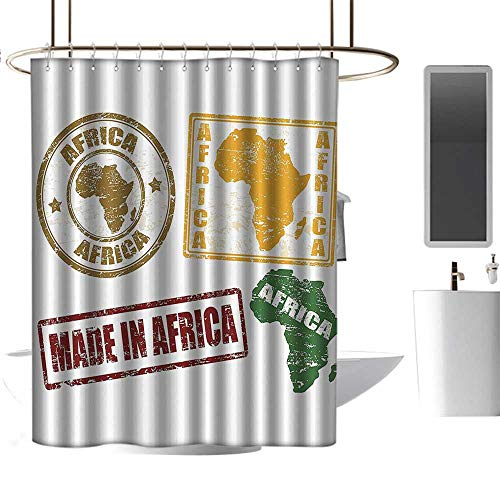 Dabuniu Shower Curtain with Hooks African Decorations Set of Grunge Rubber Stamps Made in Africa Quote Inside Authentic Labels Theme W48 xL72