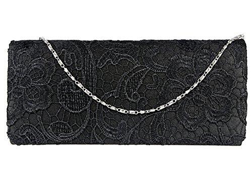 Jubileens Women's Elegant Floral Lace Evening Party Clutch Purse Bridal Wedding Handbag (Black)