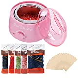 Hot Wax Warmer Cleaner Electric Waxing Kit for Body Foot Hand Skin Hair Removal Melting Pot Wax Machine with Hard Wax Beans Wax Applicator Sticks(Pink)