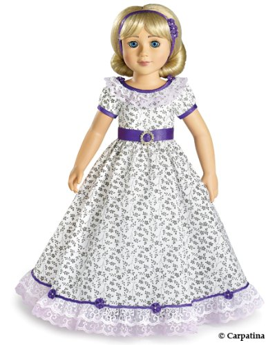 Purple Flowers Victorian Picnic Doll Dress for 18 inch Slim Carpatina or AGFAT dolls]()