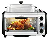 NutriChef Dual Countertop Toaster Oven - Perfect for Multi Baking Sear Simmer Saute & Rotisserie - Include Kitchen Bakeware Set Cooking Pot Wire Grill & Bake Tray with 27+ Quart Food Capacity PKMFT027