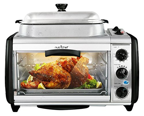 NutriChef Dual Countertop Toaster Oven - Perfect for Multi Baking Sear Simmer Saute & Rotisserie - Include Kitchen Bakeware Set Cooking Pot Wire Grill & Bake Tray with 27+ Quart Food Capacity PKMFT027 by NutriChef