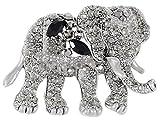 Alilang Indian African King Elephant Clear Crystal Rhinestone Animal Kingdom Silver Tone Brooch Pin, Black