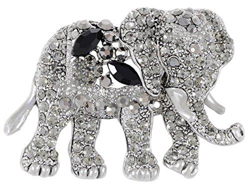 (Alilang Indian African King Elephant Clear Crystal Rhinestone Animal Kingdom Silver Tone Brooch Pin, Black )