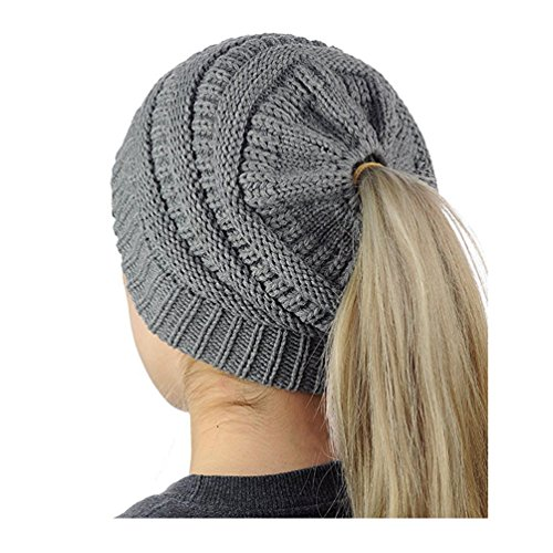 (Ponytail Messy Beanietail Knit Bun Hat Cable Knit Hat Winter Baggy Wool Skull Cap)