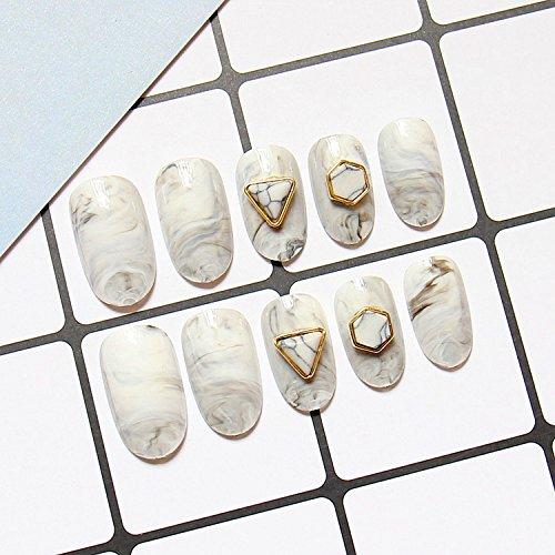 YuNail 24pcs Top White Grey Marble Rivet Stiletto Long Full False Nails Tips