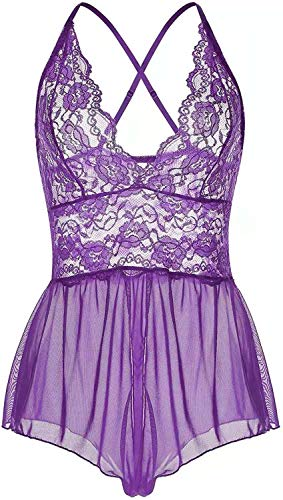 Women Lingerie Sheer Lace Mini Babydoll Teddy Sexy Bodysuit Backless Sleepwear (L, Purple)