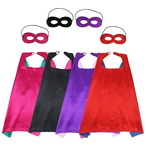 BREEZEIE Kids Dress Up Superhero Capes Costumes With Felt Mask- Girls Satin 4 Capes Dual Color For Pretend Play Party Favors -