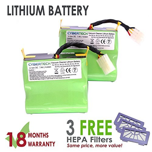 Lithium Neato VX 4400mAh Replacement Battery for Neato XV series Signature XV Pro Robotic Vacuum Cleaner,Super Extended Long-Life battery with 3 FREE HEPA Filter - UL&CE Certified Battery Component CyberTech