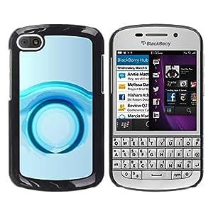 TopCaseStore / la caja del caucho duro de la cubierta de protección de la piel - Ring Future Water Grey Gray - BlackBerry Q10