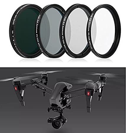 Complete Filter Set for DJI Zenmuse X5 X5R Camera and 3-Axis Gimbal with Inspire 1 PRO, RAW Quadcopter - Kit Includes: MRC UV, Polarizer, Neutral Density ND16, Variable ND Filter ND2 to ND400 Filters