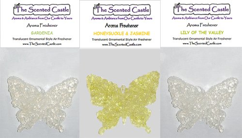 3 Pack Butterfly Car Air Fresheners - Gardenia, Honeysuckle and Jasmine, Lily of the Valley by The Scented Castle