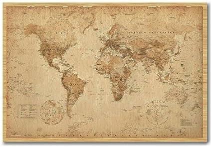 Póster de mapa del mundo Ye pergamino antiguo Pin de corcho pizarra haya Enmarcado – 96,5 x 66 cms (aprox 38 x 26 pulgadas): Amazon.es: Oficina y papelería